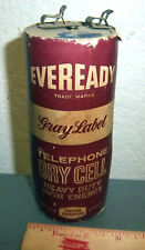 vintage Eveready Gray Label Telephone Dry Cell Battery, Union Carbide, 2 lbs