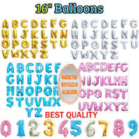 ";Self Inflating 16"" INCH Foil Number & Letters BALLOONS Happy Birthday Balloons"