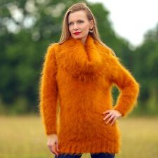 Orange mohair sweater dress cowlneck fuzzy hand knitted light tunic SuperTanya