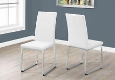 "Monarch Specialities Dining Chair - 2Pcs / 38""H / White Leather-Look / Chrome"