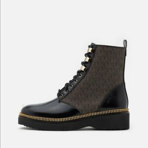 Michael Kors Logo Combat Haskell Ankle Bootie Boot NWB 5 Black Brown Logo
