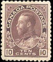 Mint H Canada 10c 1912 F-VF Scott #116 KGV Admiral Issue Stamp