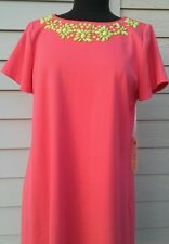 Uncle Frank Casual Coral short sleeve dress with bead details, size large