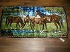 """Vtg Italian Velvet Tapestry Horses Pasture Stream Roses Wall hanging Rug 39""""X19"""""""