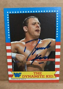The Dynamite Kid #20 1987 Topps Autographed Signed Wrestling Card WF WWF