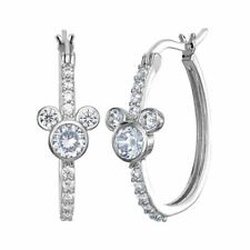 Disney Mickey Mouse Sterling Silver Clear Stone Hoop Earrings - Boxed