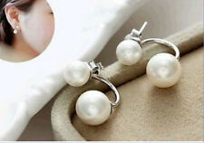 5-6mm 10-11MM Natural White Freshwater Cultured Pearl Silver Stud Earrings AAA