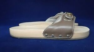 SCHOLL UK 7 LIGHT BROWN LEATHER WOODEN SOLE MULES / SANDALS