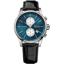 Hugo Boss HB1513283 41mm JET Blue Dial Leather Strap Chronograph Men's Watch NEW