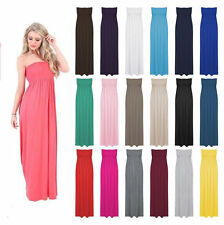 Ladies Strapless Sheering Beach Dress Long Boobtube Bandeau Maxi Summer Dress