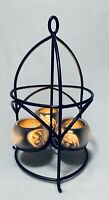 """Partylite Shadow Lights Lantern 14"""" Frosted Candle Holders Metal Fruit Cut Outs"""