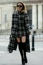 ZARA NEW LONG CHECK WOOL COAT WITH POCKETS SIZE S