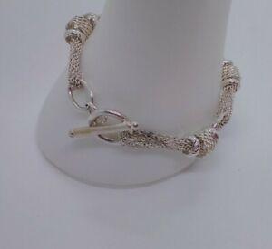 Chunky 925 Sterling Silver Multi Chain & Fob Bracelet