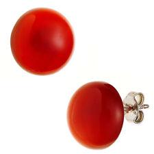 12mm Ohrstecker Ohrringe, 925 Silber, rote Carneole Karneol, rund, Damen