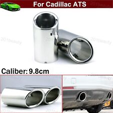 2 Silver Exhaust Muffler Tail Pipe Tip Tailpipe Emblem For Cadillac ATS 200-2018