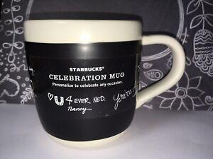 New Starbucks Coffee Mug Celebration Black Chalkboard Personalize 18 oz No Pen
