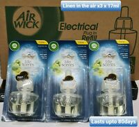3x Air Wick Freshener,Plug-in, Linen in the air, Refill 17ml