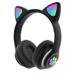 RGB Cat Ear Headphones Bluetooth 5.0 Noise Cancelling Adults Kid Girl Headset