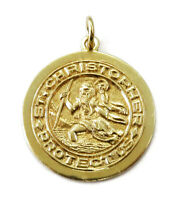 14K Yellow Gold Saint St. Christopher Round Medal Charm Necklace Pendant ~ 4.6