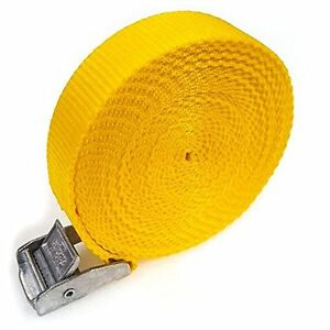 6 Buckled Straps 25mm Cam Buckle 5 meters Long Heavy Duty Load Yellow 250kg