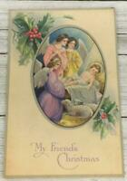 VINTAGE HOLIDAY CHRISTMAS ANGELS MANGER JESUS RELIGIOUS POST CARD POSTCARD