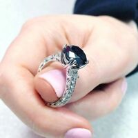 2.50Ct Round Cut Black Diamond Solitaire Engagement Ring 14K White Gold Finish