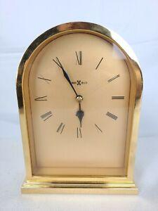 Howard Miller Brass Finish Mantle Desk Table Quartz Clock