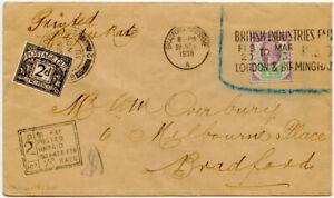 QV 1887 JUBILEE USED BIF SLOGAN 1938 PRINTED RATE Postage Due 2d TOO LATE 1/2d