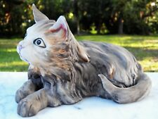 ROYAL CROWN Porcelain Grey Kitty CAT SCULPTURE Green Eyes SIGNED