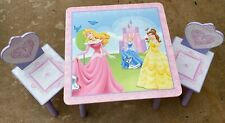 Disney Princess table 2 chair Pink Purple kids wood furniture Belle Aurora Cinde