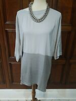 NWT EILEEN FISHER 3/4 SLEEVES SILVER SILK CREPE DE CHINE SCOOP NECK BOX TOP SZ S