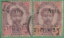 Thailand #60 #62 used Roman Letters surcharge 1898 cv $24