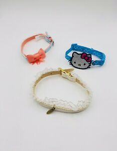 Pre-Owned Leather/Ruffle, Blue/Silver Hello Kitty, Blue/Peach Dog Collar SM