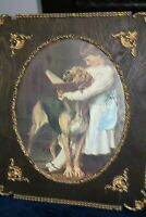 "Briton Riviere ""Compulsory Education"" Print Girl Dog Book in Gesso Antique Frame"