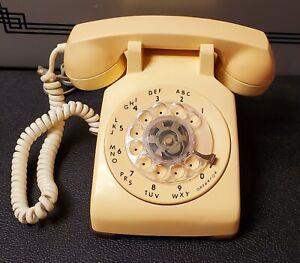Vintage Cream Desk Phone Original 1970's Rotary Telephone Northern Telecom