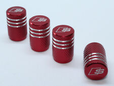 4x Valve Cap for AUDI Aluminium Dust Caps for S Line Brand New Red Check
