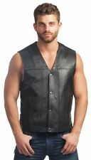 Mens Black Genuine Leather Motorcycle Biker VEST Concealed Gun Pocket Lace Sides