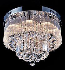 Moderne Cristal Rond Plafonnier Chandelier Chrome Lumières Plafond Pendentif