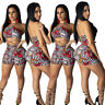 Sexy Women Floral Print Hollow Out Halter Sleeveless Bodycon Club Short Jumpsuit