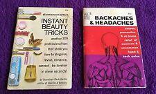 Vintage 1960's DELL 2 Purse Books ~ Instant Beauty Tricks Backaches Headaches