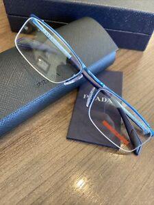 New Authentic PRADA VPS 58B ACC-1O1 METALLIC BLUE 52-18-135 Eyeglasses Frames