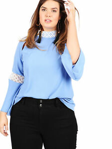 Lovedrobe GB Womens Plus Size blue lace contrast bell sleeve blouse