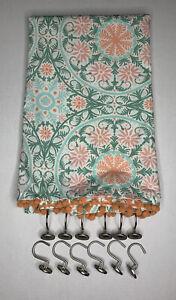 Opalhouse Shower Curtain Medallion Print Pom Pom Fringe Green/Coral Hooks Rings