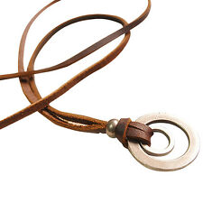 BU_ Unisex Brown Double Ring Pendant Adjustable Leather Cord Chain Necklace Stun