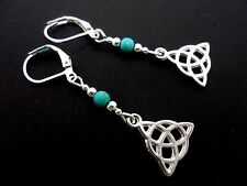 A PAIR OF TIBETAN SILVER TURQUOISE BEAD CELTIC KNOT LEVERBACK HOOK EARRINGS. NEW