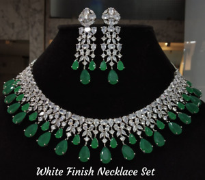 Bollywood Fashion White Gold Plated CZ Choker Green Emerald Necklace Earrings