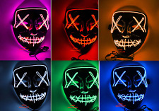 LED Maske mit 3 versch. Modi - Halloween / Horror / Party / Purge / Verkleidung