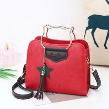 Red Shoulder Handbag Metal Kitty Handles and Tassel Star Pendant Korean Style