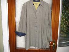 Blau/Gelbe Long- Bluse , Leder- Knöpfe , Gr. 40 - 42  von Seidensticker   Maße!