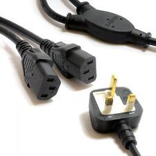 1.9m 13a UK 3 Pin Cavo di rete FUSO Y Splitter a 2 prese di alimentazione IEC Bollitore piombo